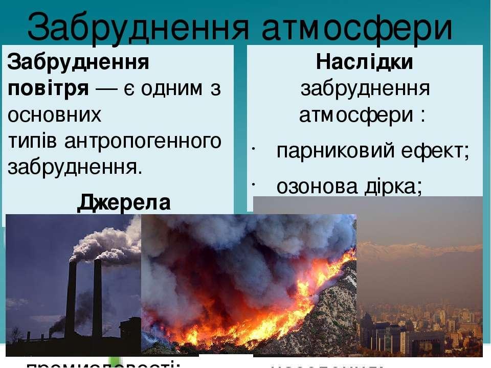 Забру днення пові тря— є одним з основних типівантропогенного забруднення. ...
