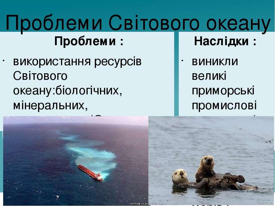 Проблеми : використання ресурсів Світового океану:біологічних, мінеральних, е...
