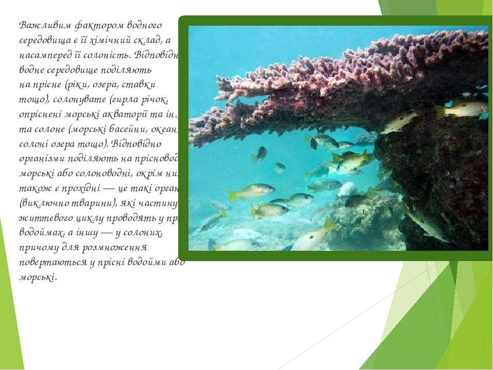 Важливим фактором водного середовища є її хімічний склад, а насамперед їїсол...
