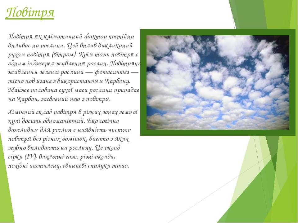 Повітря Повітряяк кліматичний фактор постійно впливає на рослини. Цей вплив ...