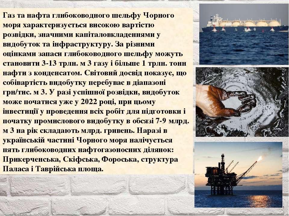 Газ та нафта глибоководного шельфу Чорного моря характеризується високою варт...