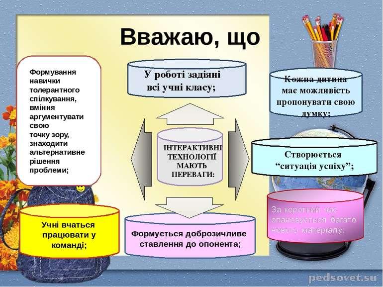 Вважаю, що Учні вчаться працювати у команді; ІНТЕРАКТИВНІ ТЕХНОЛОГІЇ МАЮТЬ ПЕ...