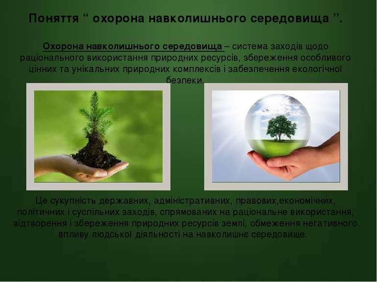 Основні об'єкти та принципи охорони навколишнього середовища. Об'єкти охорони...
