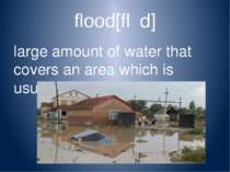 flood[flʌd] large amount of water that covers an area which is usually dry [f...