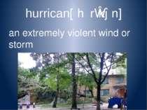 hurrican[ˈhʌrɪkən] an extremely violent wind or storm