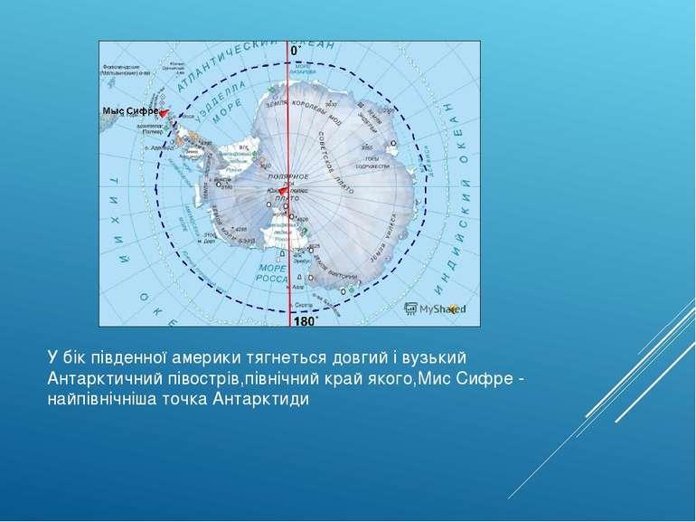 У бік південної америки тягнеться довгий і вузький Антарктичний півострів,пів...