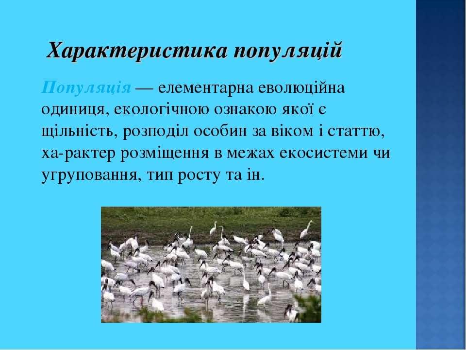 Характеристика популяцій Популяція — елементарна еволюційна одиниця, екологіч...