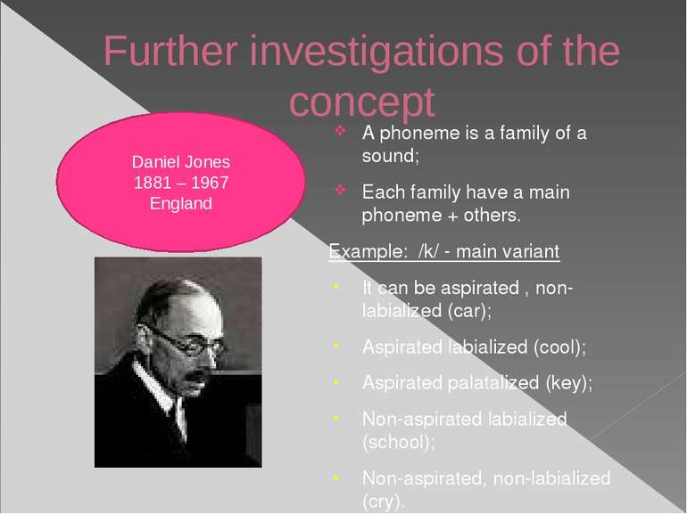 Further investigations of the concept A phoneme is a family of a sound; Each ...