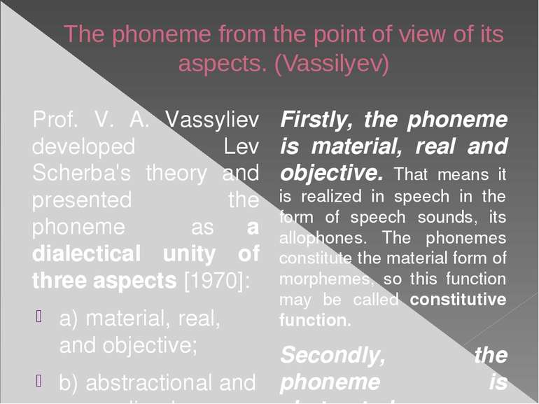 The phoneme from the point of view of its aspects. (Vassilyev) Prof. V. A. Va...