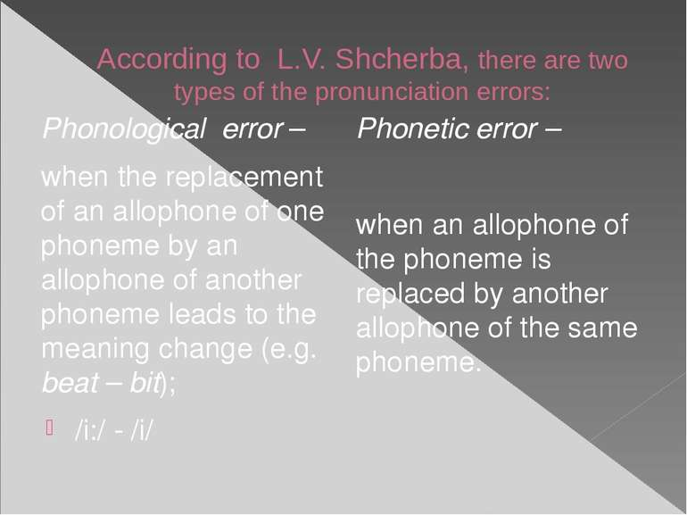 According to L.V. Shcherba, there are two types of the pronunciation errors: ...