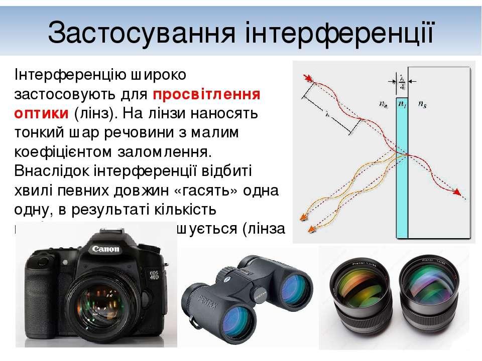 Застосування інтерференції Інтерференцію широко застосовують для просвітлення...