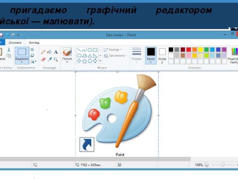 Розділ 1 § 3 Ми пригадаємо графічний редактором Paint (з англійської — малюва...
