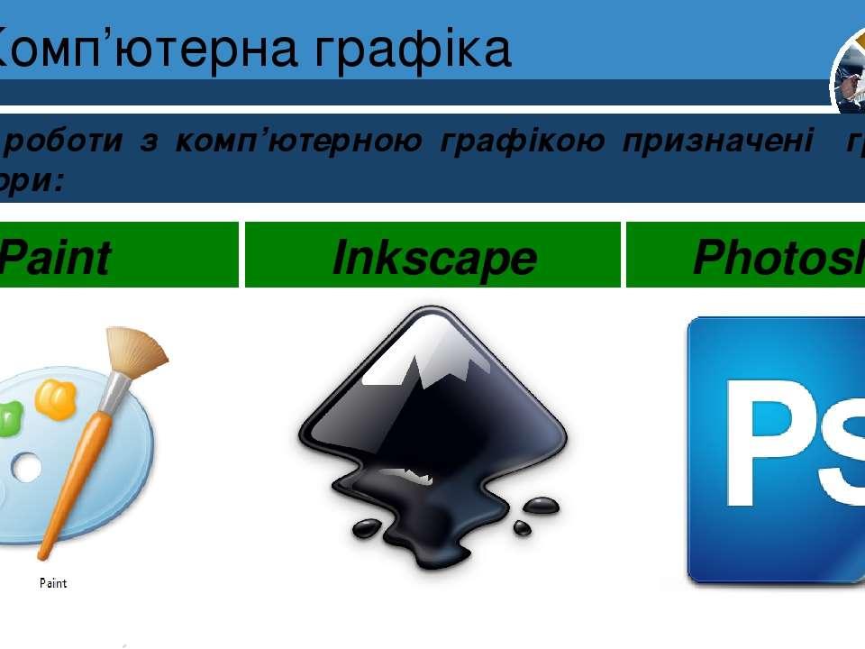 Комп'ютерна графіка Для роботи з комп'ютерною графікою призначені графічні ре...