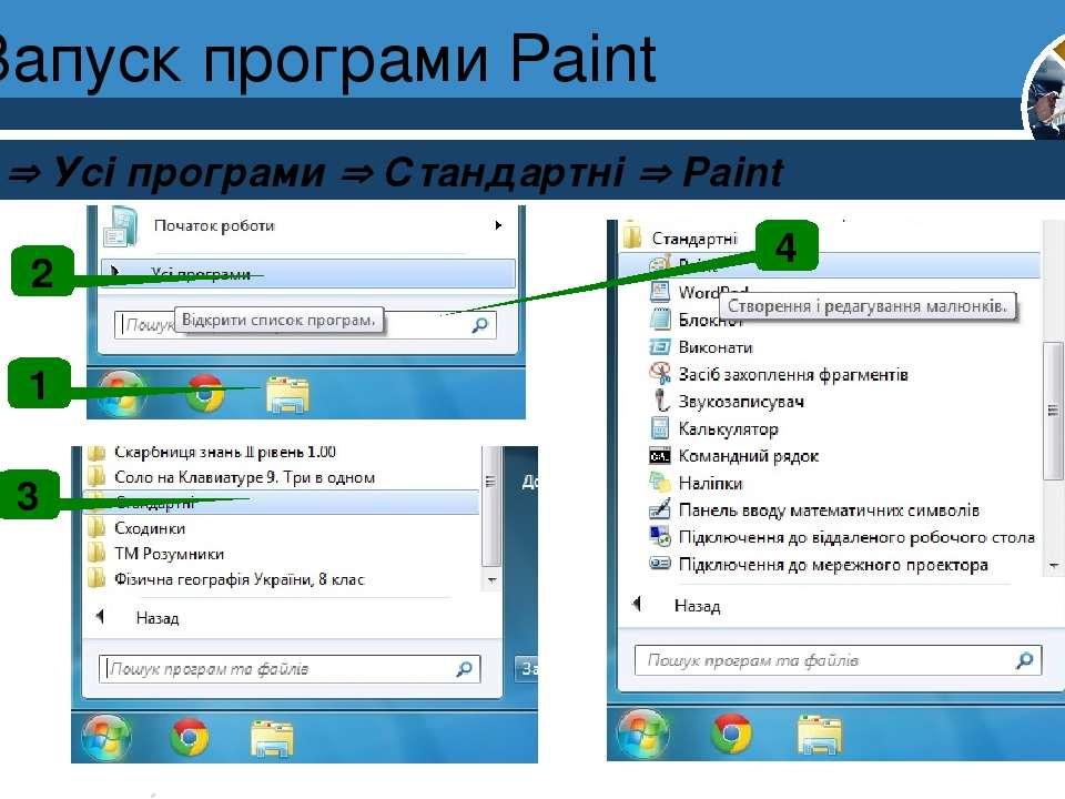 Запуск програми Paint Пуск Усі програми Стандартні Paint Розділ 1 § 3 1 2 3 4 6