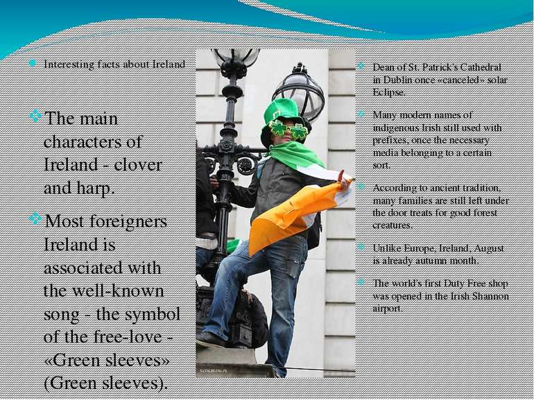 Interesting facts about Ireland The main characters of Ireland - clover and h...