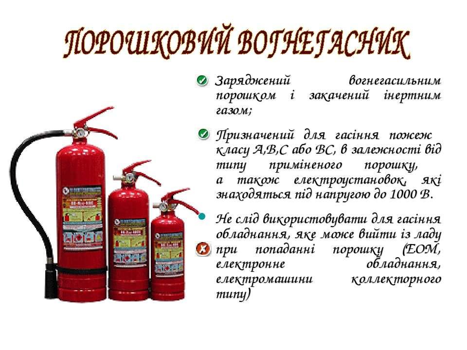 Заряджений вогнегасильним порошком і закачений інертним газом; Призначений дл...