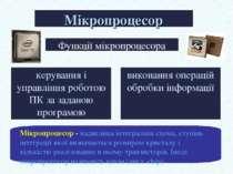 Мікропроцесор Функції мікропроцесора керування і управління роботою ПК за зад...