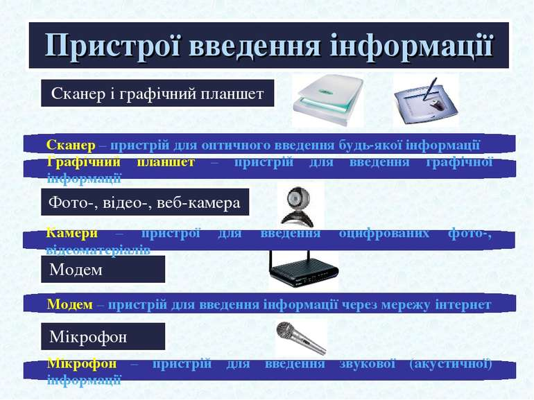 Сканер і графічний планшет Пристрої введення інформації Сканер – пристрій для...