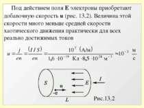 Рис.13.2 Под действием поля Е электроны приобретают добавочную скорость u (ри...
