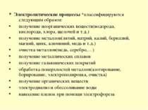 * Электролитические процессы *классифицируются следующим образом: получение н...