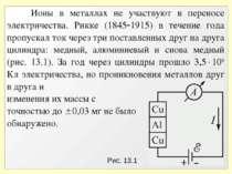 Рис. 13.1 Ионы в металлах не участвуют в переносе электричества. Рикке (1845 ...