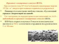 Взрывная электронная эмиссия (ВЭЭ). При плотности тока 108 А/см2 и большой ко...