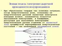 Зонная модель электронно-дырочной проводимости полупроводников При образовани...
