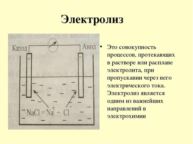 Электролиз Это совокупность процессов, протекающих в растворе или расплаве эл...