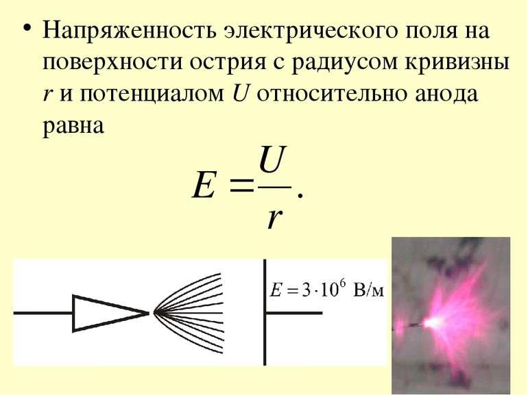 Напряженность электрического поля на поверхности острия с радиусом кривизны r...