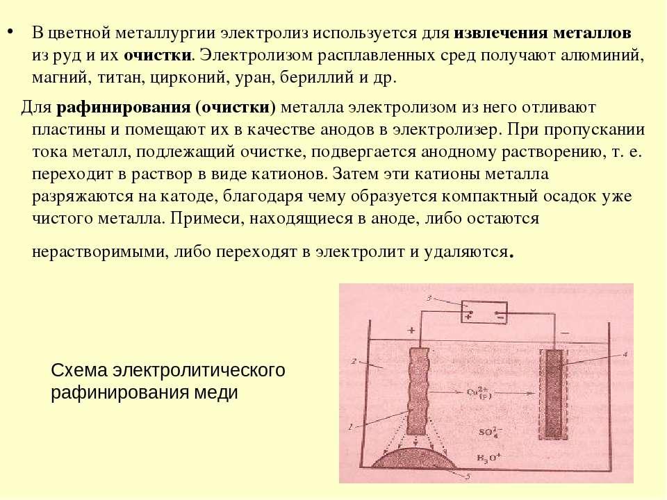 В цветной металлургии электролиз используется для извлечения металлов из руд ...