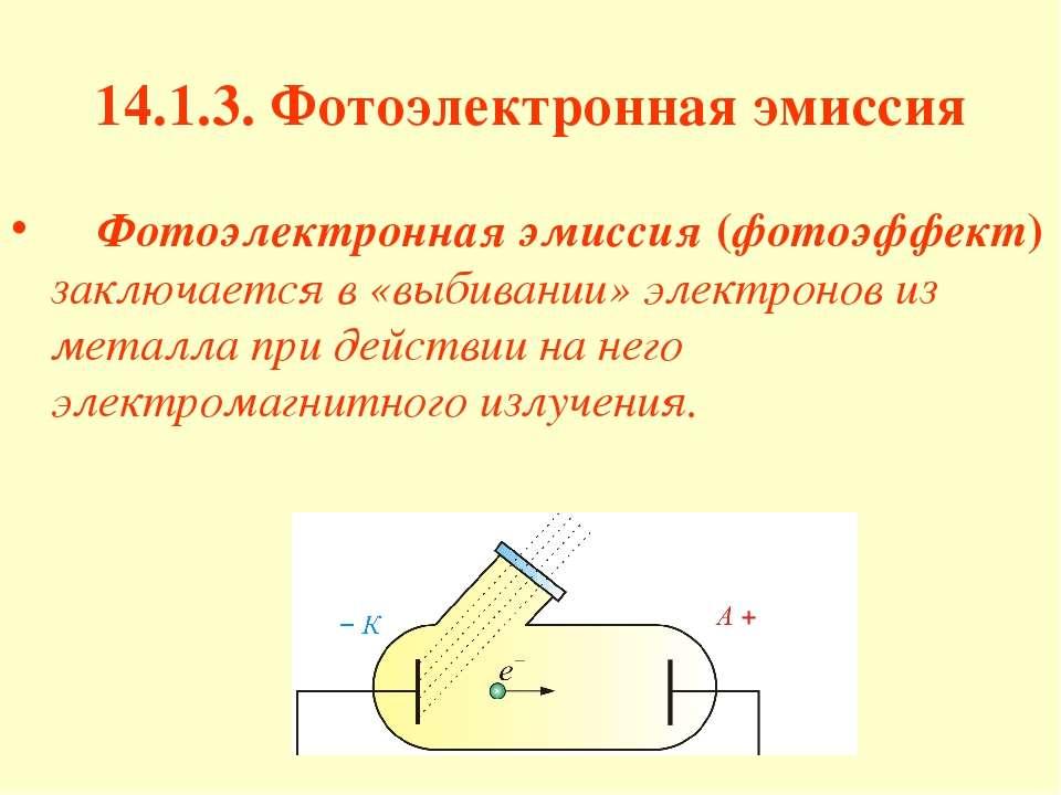 14.1.3. Фотоэлектронная эмиссия Фотоэлектронная эмиссия (фотоэффект) заключае...