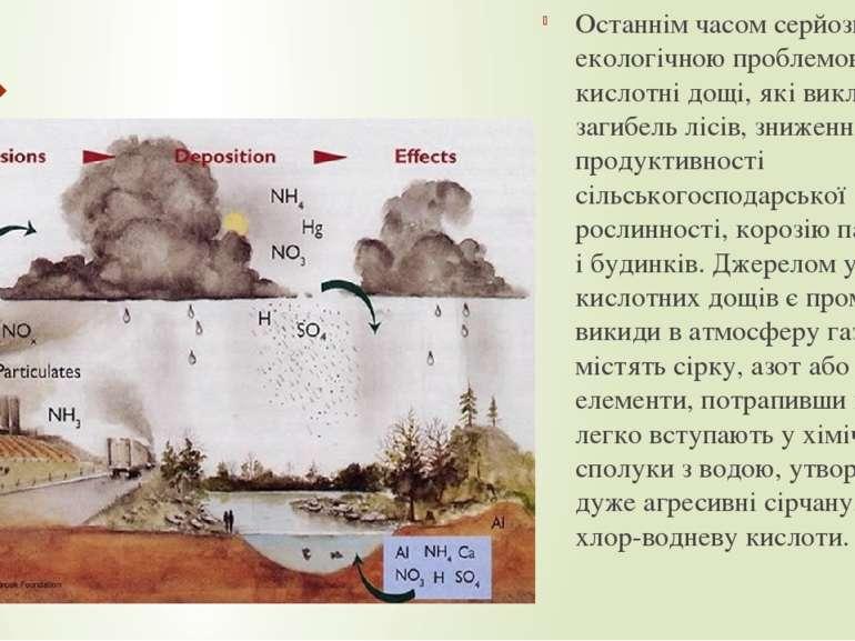 Останнім часом серйозною екологічною проблемою стали кислотні дощі, які викли...