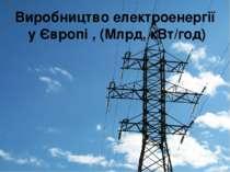 Виробництво електроенергії у Європі , (Млрд, кВт/год)