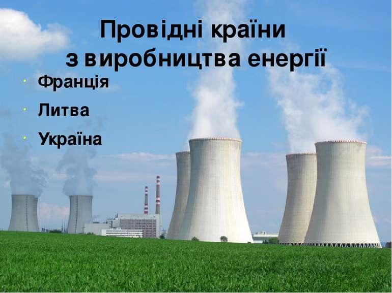 Провідні країни з виробництва енергії Франція Литва Україна