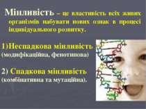 Мінливість – це властивість всіх живих організмів набувати нових ознак в проц...