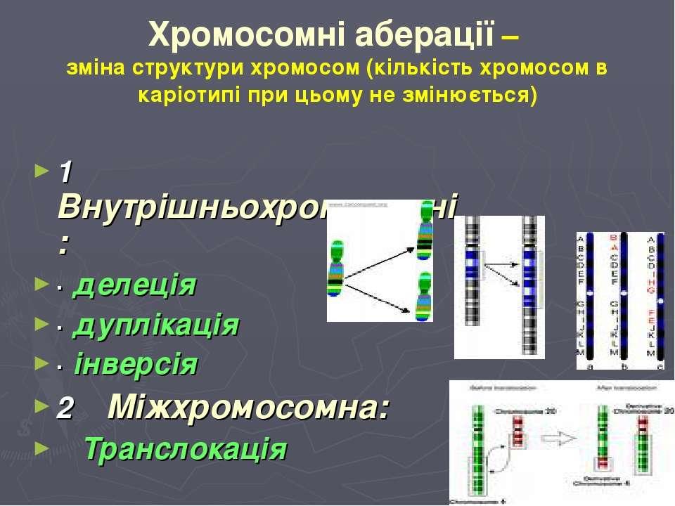 Хромосомні аберації – зміна структури хромосом (кількість хромосом в каріотип...