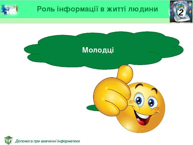 Молодці Роль інформації в житті людини Допомога при вивченні інформатики Допо...