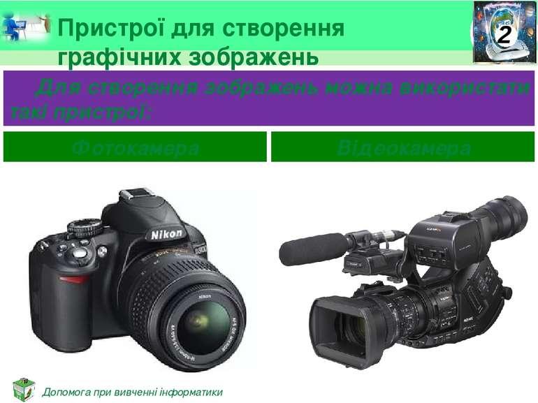 Пристрої для створення графічних зображень Для створення зображень можна вико...