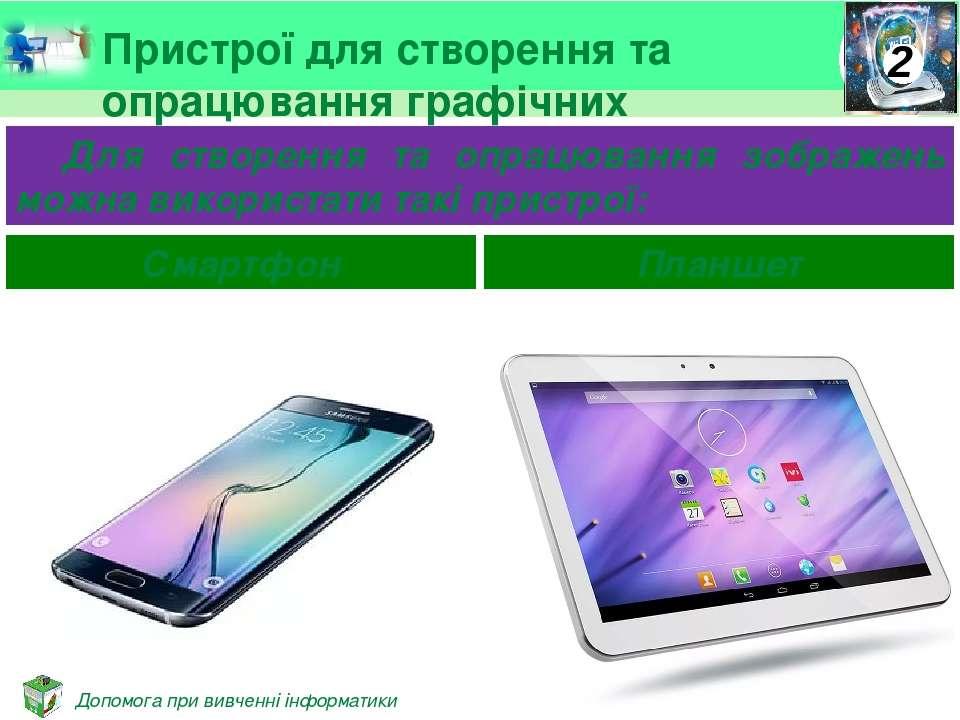 Пристрої для створення та опрацювання графічних зображень Для створення та оп...