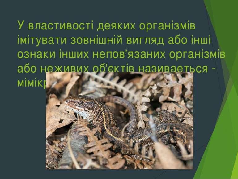 У властивості деяких організмів імітувати зовнішній вигляд або інші ознаки ін...