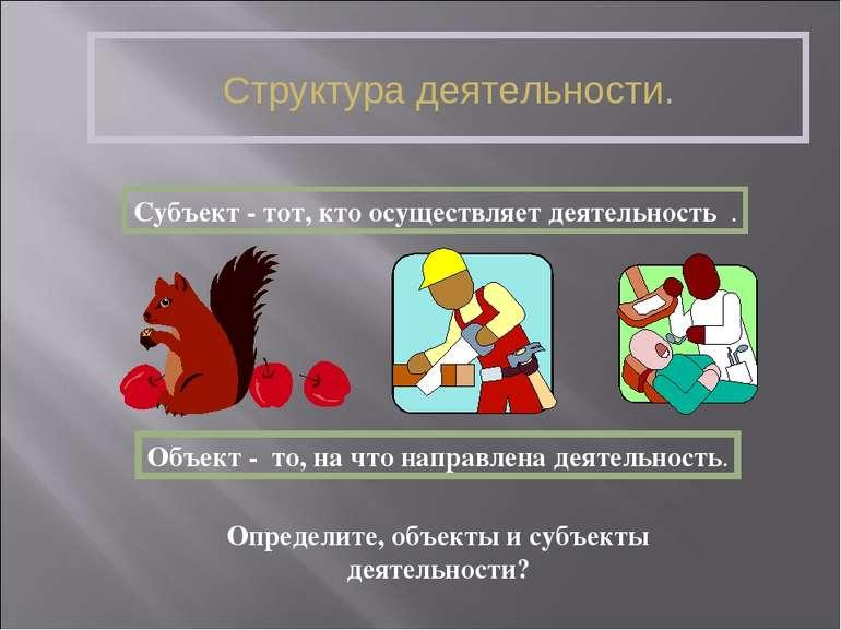 Структура деятельности. Субъект - тот, кто осуществляет деятельность . Объект...