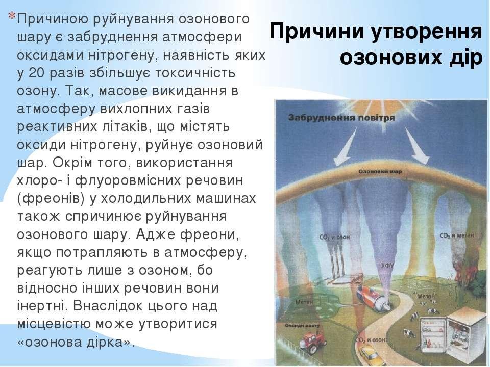 Причини утворення озонових дір Причиною руйнування озонового шару є забруднен...