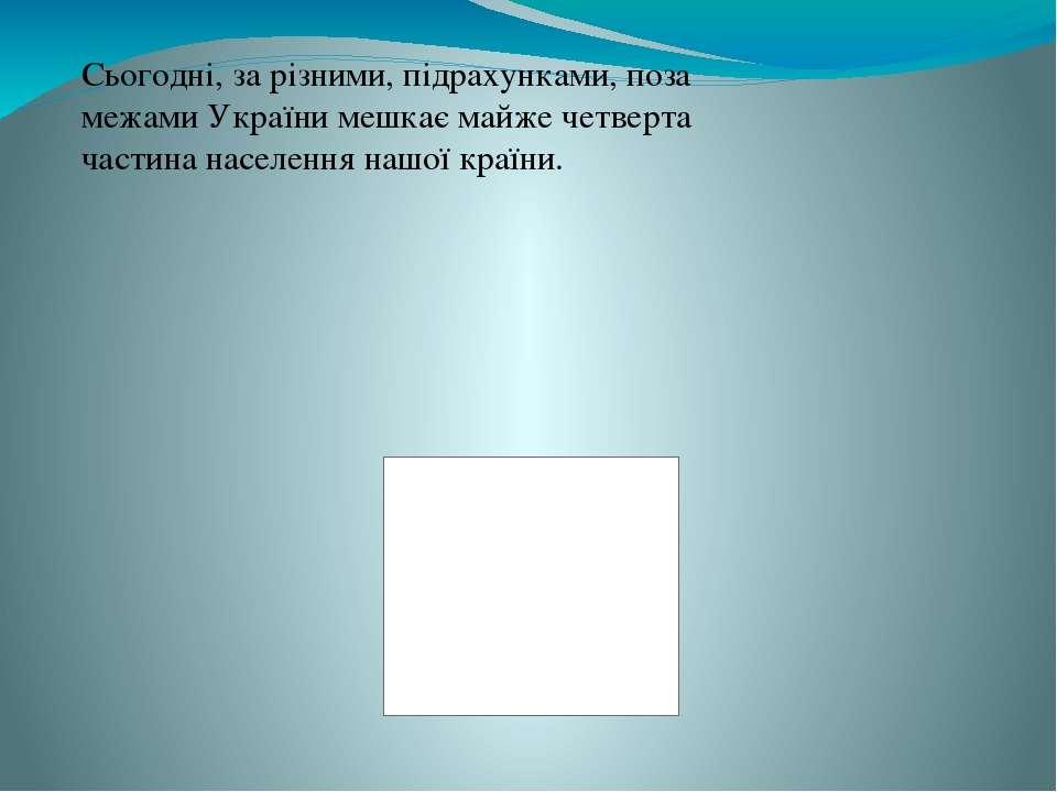 Сьогодні, за різними, підрахунками, поза межами України мешкає майже четверта...