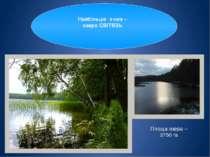 Світязь Світязь також найглибше озеро України. Його середня глибина – 7 м, ма...
