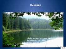 Чарівний Синевир з навколишніми лісами проголошений у 1989 році природним нац...