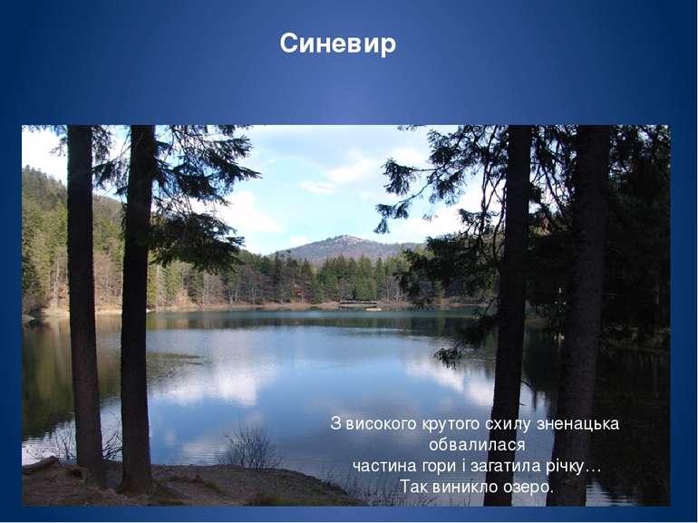 Синевир розміщений серед карпатських лісів на висоті 989 м. Його площа має – ...
