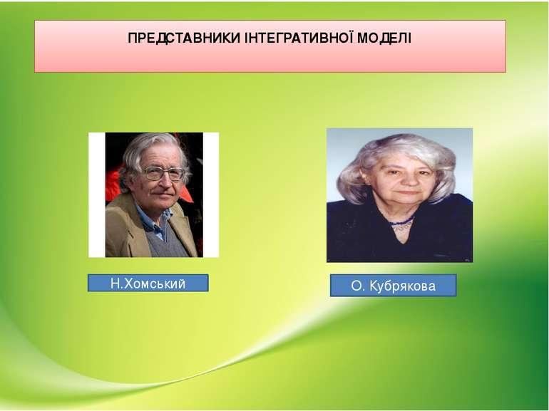 ПРЕДСТАВНИКИ ІНТЕГРАТИВНОЇ МОДЕЛІ Н.Хомський О. Кубрякова