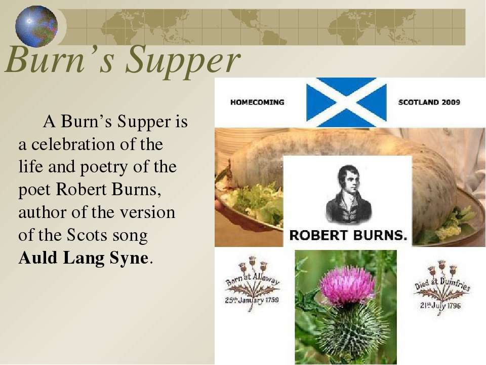 Burn's Supper A Burn's Supper is a celebration of the life and poetry of the ...