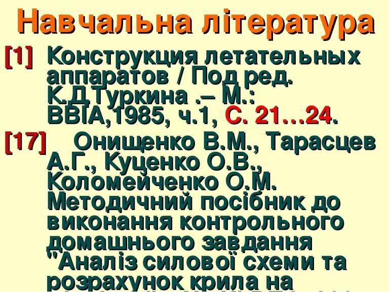 Навчальна література [1] Конструкция летательных аппаратов / Под ред. К.Д.Тур...