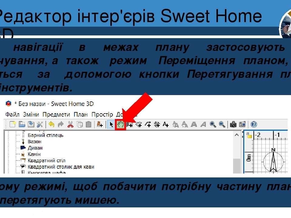 Редактор інтер'єрів Sweet Home 3D Розділ 8 § 30 Для навігації в межах плану з...